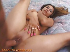 Fucking her Asian pussy and cumming on her tits tubes