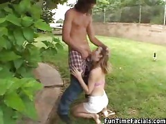 Girl sucking on multiple dicks outdoors tubes