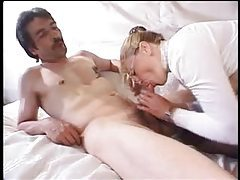 Granny loosens up for his hot dick tubes
