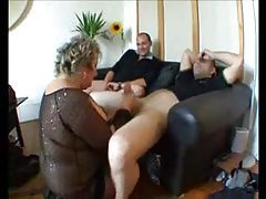 Two guys play with a fat granny tubes