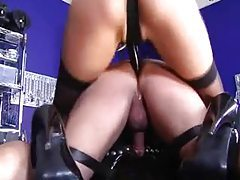 Blonde in latex strapon fucks his ass tubes