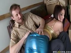 Busty girl in shiny clothes loves big cock tubes