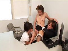 Watch a fiery threesome in the office tubes