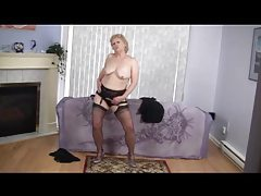 Mature blonde dances and strips tubes