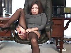 Asian in sweaterdress has dildo sex tubes