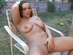Curvy girl masturbates hot pussy outdoors tubes