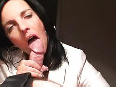 Milf slowly strokes until he cums tube
