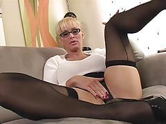 Office bimbo in sweater teases you tubes