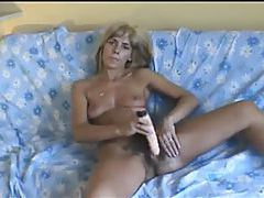 Wicked hairy milf pussy takes a toy tubes