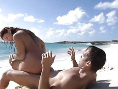 Great sex with naked babe on the beach tubes