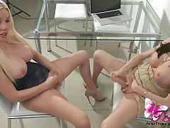 Ana Mancini and Marian Cordoba sucking cock tubes