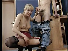 Blonde mom eagerly strokes his shaft tubes