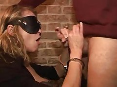 Blindfolded milf spanked and used in bar tubes
