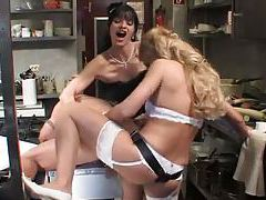 Kinky strapon sex in restaurant kitchen tubes