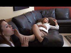 She smells and licks nylon-clad feet of sleeping girl tubes