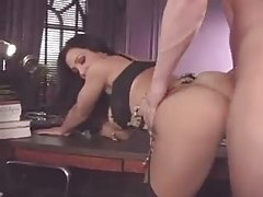 Hot big tits brunette fucked in her office tubes
