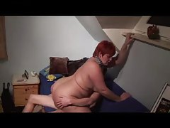 Redhead with a huge ass on top of cock tubes
