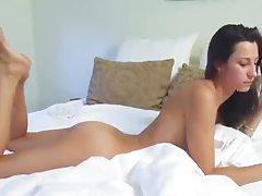 Solo brunette takes us on a tour of her body tubes
