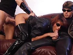 Double fisting and hot leather sex tubes