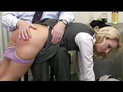 Over the knee spanking reddens her ass tubes