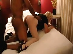 Fat ass wife in pantyhose goes big and black tubes