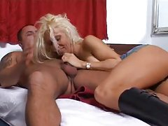 Leather boots blonde shows him a good time tubes