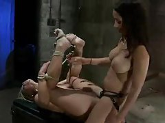 Rope bondage and strapon sex for her tubes