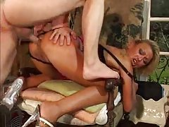 Cocksucking German treated to anal sex tubes