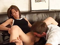 Horny shaved brunette humped on couch tubes