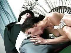 She puts on lingerie after shower and they fuck tubes
