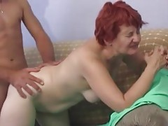 Mature redhead with shaved box pounded tubes