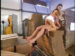 Hot teen takes big cock in a warehouse tubes