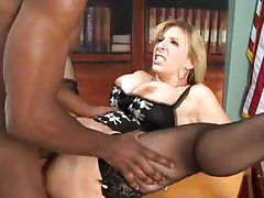 Black dick fucks Sara Jay in the office tubes