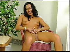Striptease from dress shows shaved pussy tubes