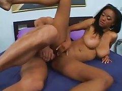 Skinny black girl with big naturals nailed tubes