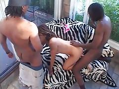 Threesome with two black guys fills her tubes