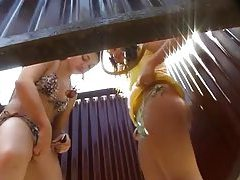 Beach cam shows girls changing tubes