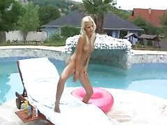 Bikini blonde strips and maturbates outdoors tubes