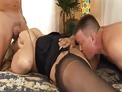 Fat slut in stockings has hardcore threesome tubes