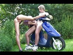 Teen fucked outdoors on a scooter tubes
