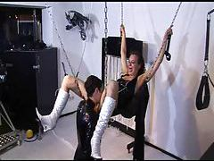 Sex swing dildo fucking with latex couple tubes