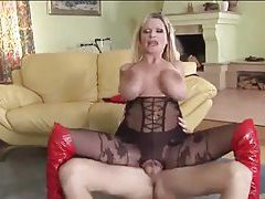 Enormous boobs on fucked blonde in body stocking tubes