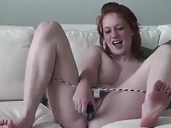 Pale redhead with dildo fucks pussy tubes