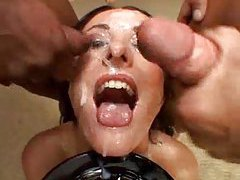 Brunette takes many sexy facials tubes