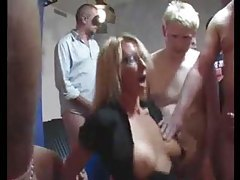 Milf in glasses in huge gangbang tubes