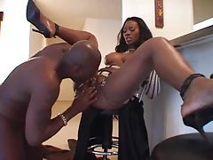 Hot black girl has big tits and loves sex tubes