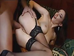 Classy cock eater in stockings anally fucked tubes