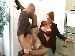 Milf redhead in business suit slammed tubes