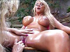 Oiled up bikini lesbians play outdoors tubes