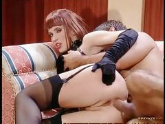 Leather fetish redhead fucked in the ass tubes